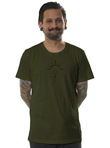 Herren T-Shirt mit Psychodelischem Street Art Pilz Aufdruck - handgefertigt durch Siebdruck - Street Habit Oliv-Grün