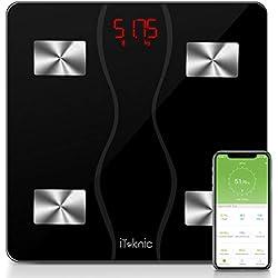 Pèse Personne Impédancemètre, iTeknic Balance Connectée Balance Pèse Personne Bluetooth Électronique Balance Composition Corporelle Intelligente Mesure Poids Masse Graisseuse Musculaire Graisse IMC