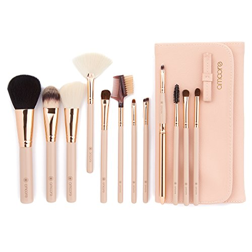 amoore Make Up Pinsel Pinselset Make Up Pinsel Sets Make Up Buersten mit der PU Leder Kosmetiktasche (12 Stück, Nackt)