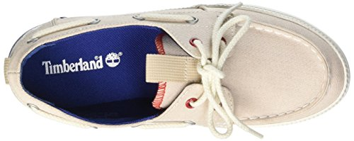 Timberland Newport Bay_newport Bay Canvas Boat O, Chaussures bateau femme Beige - Beige (White Red Blue)