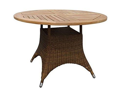 Savannah Beistelltisch (SAVANNAH Tisch Gartentisch Ø110 Zebra Teak & Poly Rattan Cognac)