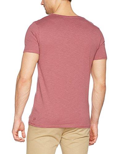 TOM TAILOR Denim Herren T-Shirt Nos V-Neck Tee with Print Violett (Deeply Mauve 5744)