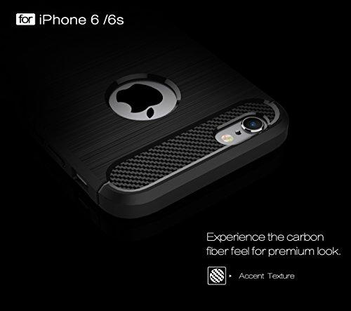 Voguecase Pour Apple iPhone 6/6S 4,7 Coque, [Haute Qualité] TPU avec Absorption de Choc, Etui Silicone Souple, Légère / Ajustement Parfait Etui Coque Shell Housse Cover pour Apple iPhone 6/6S 4,7(Fibr Fibre de carbone-Noir