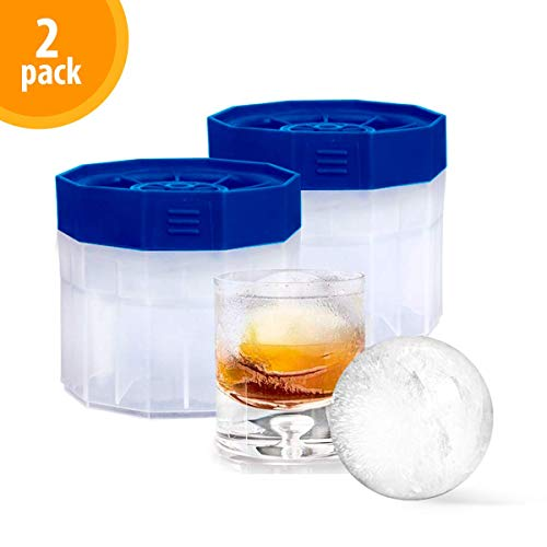 Bella Amazing Ice Ball Molds Maker - 2 Pack Sphere Molds - 2.5 inch Round Ice -Slow Melting Ice for Whiskey, Bourbon and Cocktails - Crystal Belle