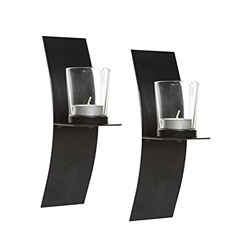Hosley's Set of 2 Modern Art Wall Sconces with Clear Glass Votive Holders-9