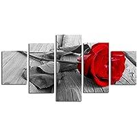 5 Paneles con Estilo Imprime Red Rose Arte de la Pared de Fondo Gris de Madera