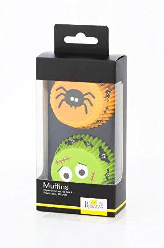 Papierförmchen Halloween Spinne + NARBENGESICHT (48 Stück/3,2 x 7 cm) FETTDICHT ()
