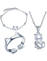 Yumi Lok 925 plata de ley Circonita 8 mm perlas Gato Gatito Collar Charm de pulsera banda anillo joyas set collar con colgante pulsera cadena anillo Set para mujer Chica