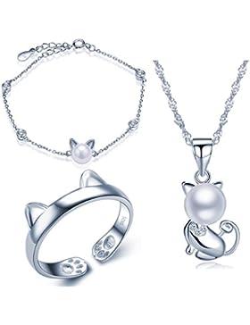 Yumilok 925 Sterling Silber Zirkonia 8mm Perle Katze Kätzchen Halskette Charm-Armband Bandring Schmuck Set Kette...