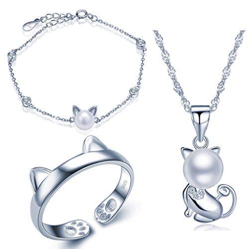 Yumilok 925 Sterling Silber Zirkonia 8mm Perle Katze Kätzchen Halskette Charm-Armband Bandring Schmuck Set Kette mit Anhänger Armkette Ring Set für Damen (Frau Anzug Katze)