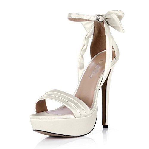 Best 4U® Frauen Sommer Sandalen Faux Seide Bow Peep Toe 14 CM High Heels 3 CM Plattform Gummisohle Schuhe Beige , EU36 (Faux Leder High Heel)