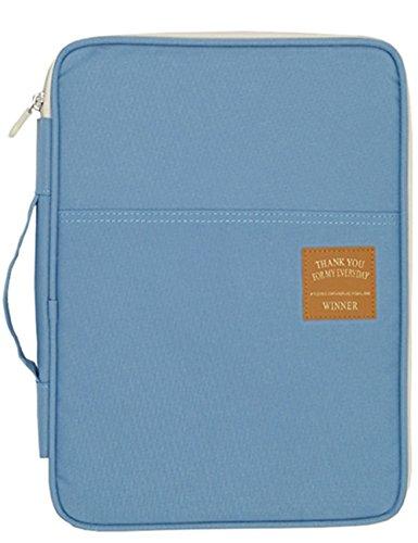 A4 Größe Reisen Dokument Fall Halter Brieftasche Datei Ordner Organizer Nachricht Tasche Passport Brieftasche für Reise Urlaub Büro und Universität (Hellblau) (Große Passport-fall)