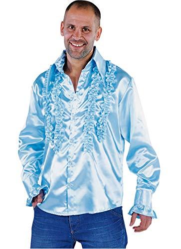 narrenkiste M213221-13-M hell-blau Herren Rüschenhemd Discohemd (Helle Blaue Perücken)