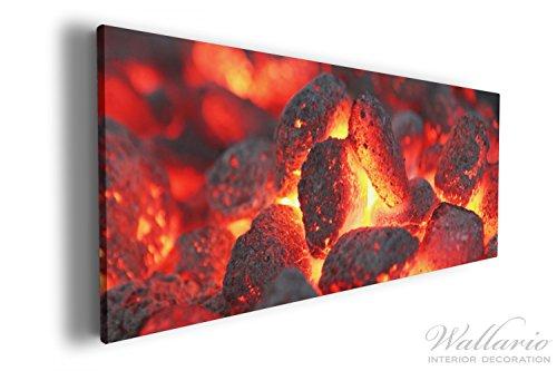 Wallario XXXL Riesen- Leinwandbild Glühende Kohlen im Kamin - 80 x 200 cm in Premium-Qualität:...