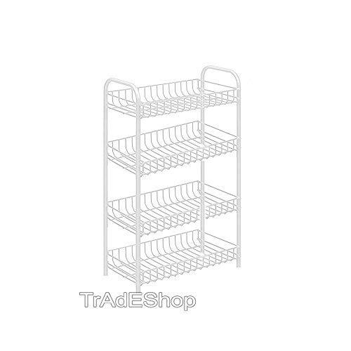 TrAdE shop Traesio Carrello PORTAOGGETTI Porta Oggetti 4 Ripiani Bianco per Cucina Bagno 30x40x77cm