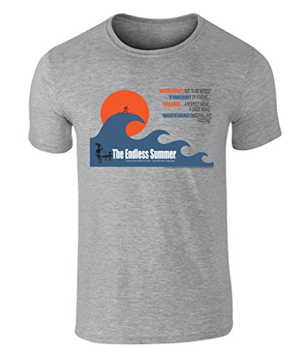 THE ENDLESS SUMMER - Big Wave Grafik Unisex T-Shirt - offiziell lizenziert von Bruce Brown Films, Grau, Large (Surf-grafik)