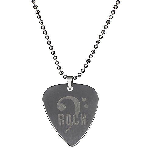 Punk Collana in acciaio inox con plettro, motivo basso elettrico, varietà di design creativi, Rock