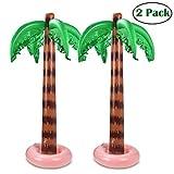 HappySDH Aufblasbarer Kokosnussbaum Spielzeug, Aufblasbar PVC Strand Kulisse für Beach Party gefallen Wasser Spielzeug 90cm 2pcs (Grün)