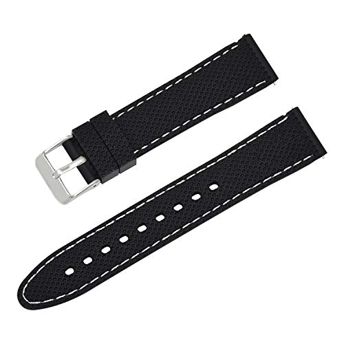 Silikon schwarz Uhrenarmband Ersatzgummigewebe Schnellspanner Uhrarmband Ersatz 20mm - Watch Bands Silikon Invicta