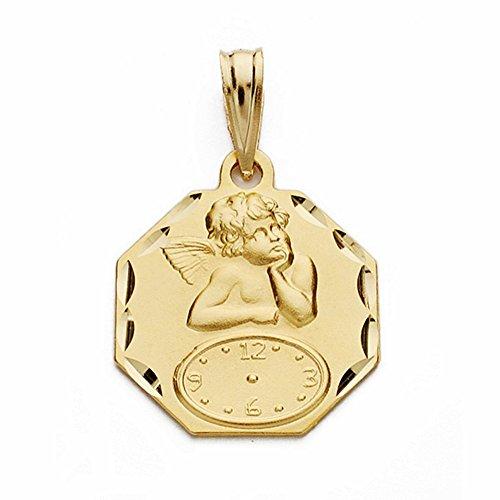 18k Goldmedaille spöttischen Cherub Engel Uhr 17mm. hexagonal [AA2486GR] - Anpassbare - AUFNAHME IN PREIS ENTHALTEN -