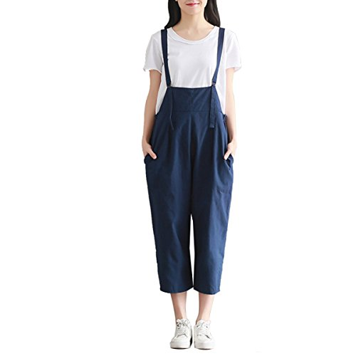Homedecoam Damen mädchen Retro Latzhose Sommerhose Jeans Jumpsuits Hosen Blau