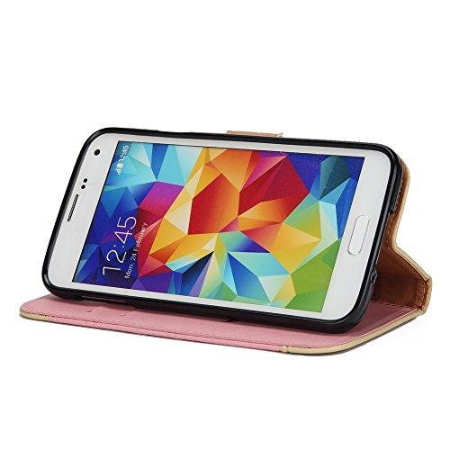 Gemischte Farben Rose Blume matt Premium PU Leder Brieftasche Stand Case Cover mit Lanyard & Card Slots für Samsung Galaxy S5 ( Color : Red ) Pink