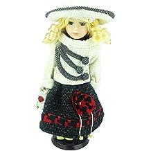 Bambola in porcellana La Collezione Shannon - Look / Design Vintage (Vestito in Plaid Giallo (C))