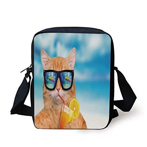 Funny,Cat Wearing Sunglasses Relaxing Cocktail in The Sea Background Summer Kitty Image,Blue Ginger Print Kids Crossbody Messenger Bag Purse