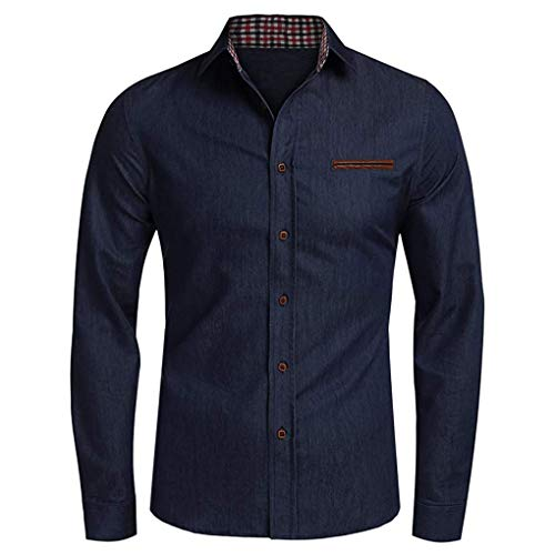 Skxinn Jeanshemd Männer Denim Shirt Langarmhemd Cowboy-Style Freizeit Hemd männer Kent-Kragen Business Casual Freizeithemden Tops für Herren(Marine,XXX-Large)