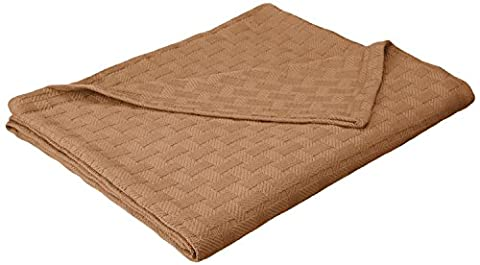 Superior 100% Cotton Thermal Blanket, Soft and Breathable Cotton for All Seasons, Bed Blanket and Oversized Throw Blanket with Luxurious Basket Weave Pattern - Full/Queen Size, Taupe
