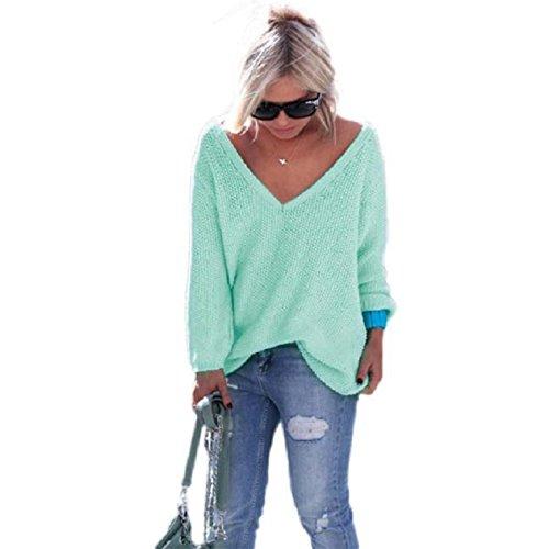 OVERDOSE Damen Frauen Strick Pullover Lose Strickjacke Pullover Tops Feste Farbe Strickwaren (S, Grün) (Pullover Tunika Alpaka Damen)