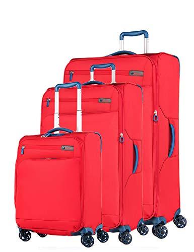 Verage Visionary Reisekoffer Gepäck-Set 3 teilig S-(19.5') + M-(25') + L-(29'),Rot, 4 Rollen Stoff Trolley mit TSA-Schloss, Handgepäck geeignet für Ryanair,...