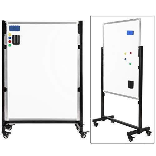 Flip-räder (Whiteboard mit Ständer/Flipchart Mobil Set 100 x 75cm - stehend Magnettafel mit Stativ mit 1 Magnetischem Schwamm und 4 Magneten - White Board Rollen Flip Chart auf Rädern)