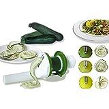 #1 Spiralizer DiBocati. Cortador multiusos de verduras en espiral 3 en 1 para cocinar tallarines de pepino, calabacín y zanahoria. 2 AÑOS Garantía de recambio.