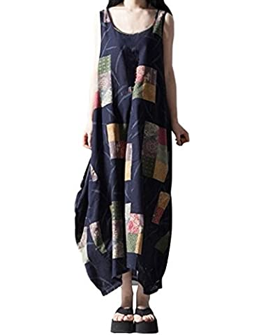 ZANZEA Women's Retro Casual Loose Boho Summer A-Line Long Maxi Shirt Dress Blue UK 18
