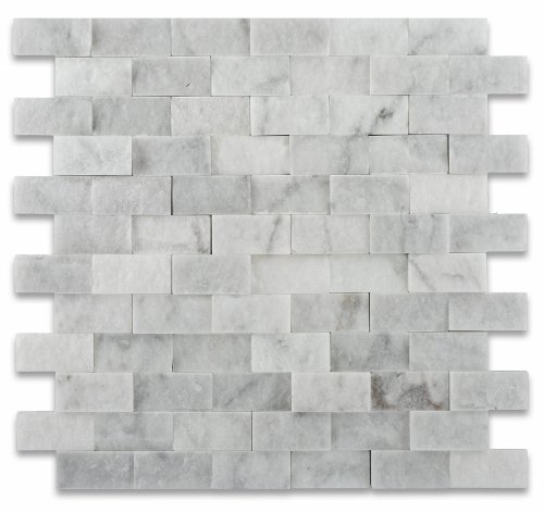 1 X 2 Carrara White Marble Split Faced Brick Mosaic Tile - Box of 5 sq. ft. by Oracle Tile & Stone