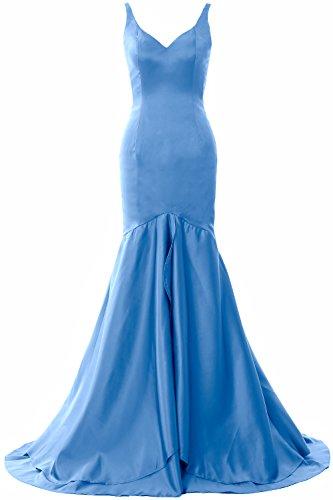 MACloth Women Mermaid V Neck Satin Long Prom Dress Tiered Formal Evening Gown Blau