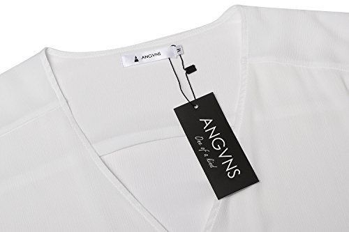Damen Chiffon zweiteiliger Karriereanzug tiefer V-Ausschnitt Langärmeliger Oberteil und knielanges Kleid mit elastischer Taile Bleistift Design und rückseitigenreißverschluss - 5