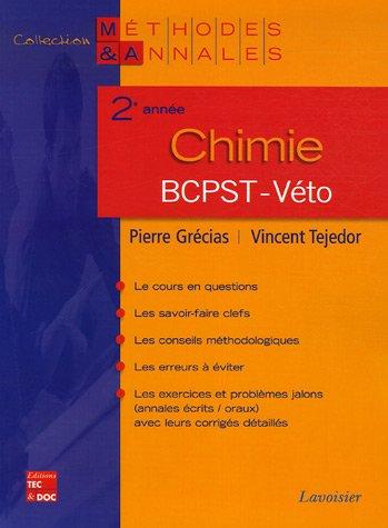 Chimie 2e année BCPST-Véto