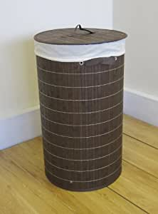 Folding Bamboo Laundry Box/Storage Basket-Round/Chocolate Brown-We deliver to main land UK,EXCEPTIONS Channel Islands,Scotish Highlands and Ireland.