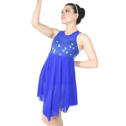 e Pailletten Tank Top Cut Rock Lyrischen Kleid Tanzen Kostüm (LC, Königsblau) (Lyrische Kleid Dance Kostüme)