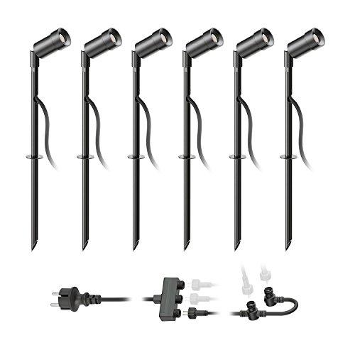 ledscom.de LED Gartenstrahler Spico schwarz mit Erdspieß für außen IP44 68lm kalt-weiß 6er Set