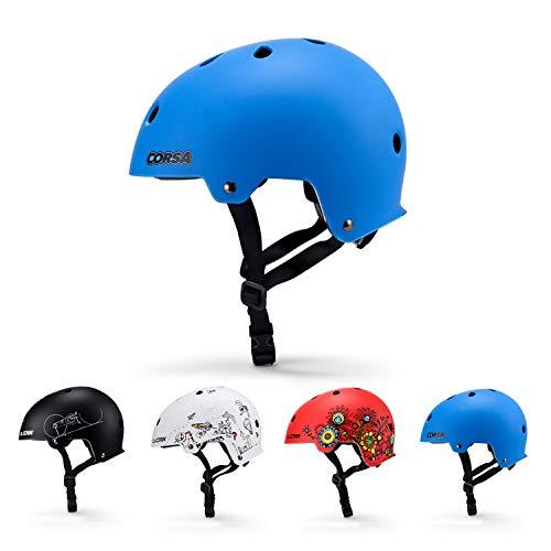 Asvert Kinderhelm Cartoon Helm Dinosaurier Einstellbar Stirnband Schutzhelm 3-6 Jungen und Mädchen für Roller Skating Skateboard BMX Roller Radfahren(Blau, S)