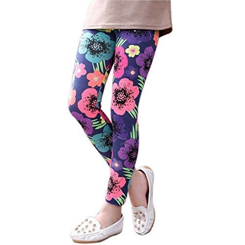 Minuya Kinder Baby Mädchen Leggings Elastische Taille Bunte Blumenmuster Leggins Lang Trainingshose Strumpfhosen Hosen Long Pants 2-14 Jahre