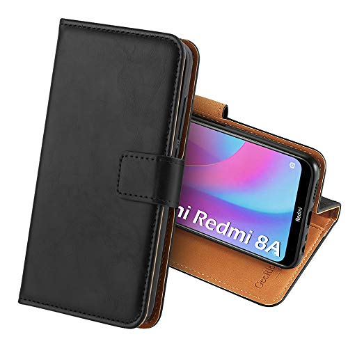 Capa compatível GeeRic para Xiaomi Redmi 8A, Flip Case Carteira Estojo de couro Suporte para fecho magnético Shell para celular, Compatível com Xiaomi Redmi 8A Preto