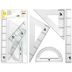 Liderpapel JG02 - Juego escuadra y cartabón, regla y semicírculo, 25 cm, 30 cm, 15 cm