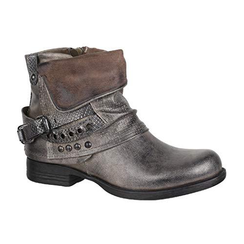 Elara Mujer Biker Boots | Metallic Prints Hebillas | Aspecto de Piel Remaches Botines | Forrado, Color Gris, Talla 36 EU