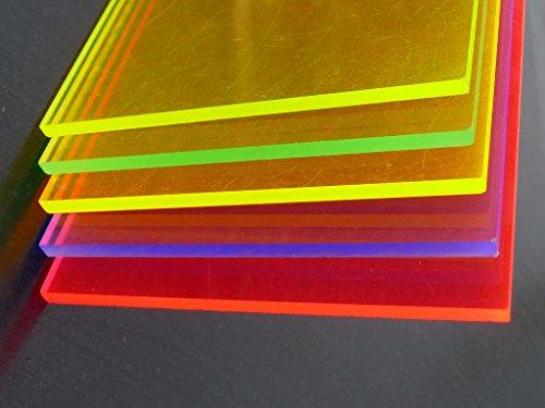 Platte Acrylglas GS, 500 x 500 x 3 mm, Fluoreszierend blau Zuschnitt alt-intech® - 4