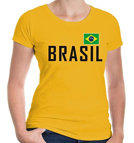 buXsbaum® Damen Girlie T-Shirt Brasilien | Brasil Brazil Amerika Ländershirt Fanshirt Flagge Trikot Reise | XS, Gelb