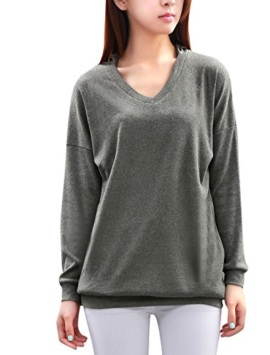 allegra-k-ladies-v-neck-long-batwing-sleeves-loose-hoodie-m-grey